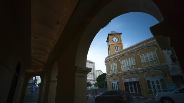 PHUKET, THAILAND -June 30, 2018 : old building Sino-Portuguese style landmark of phuket in night time