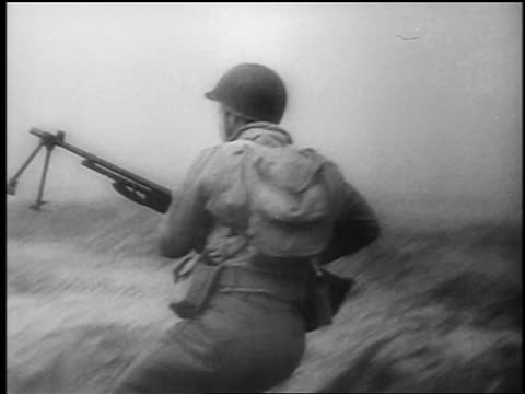 b/w june 6 1944 soldier with gun in foxhole / soldier with gun lies in grass / normandy france / dday - 1944 stock videos and b-roll footage