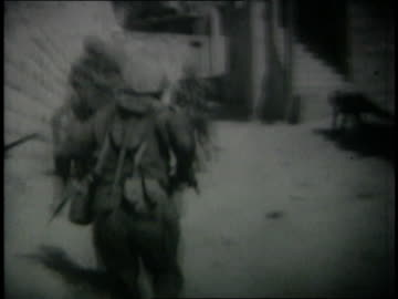 june 6, 1967 montage israeli soldiers running through streets of qalqilya / west bank - 1967 stock videos & royalty-free footage