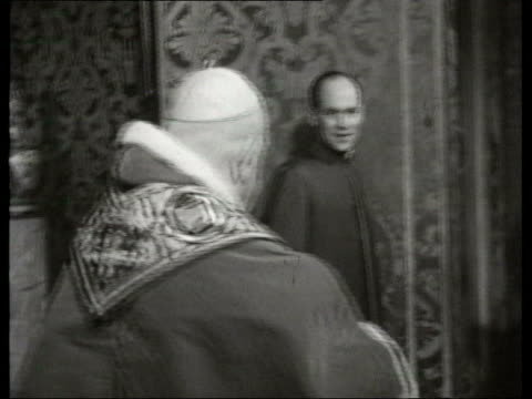 june; in 1959 pope john xxiii met president de gaulle lib italy: rome: int pope john xxiii along ext french president charles de gaulle along past... - pope john xxiii stock videos & royalty-free footage