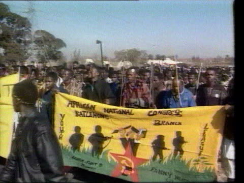 june in 1976 the soweto massacre occured vosloosrus people with spears marching to african national congress rally - soweto stock videos & royalty-free footage