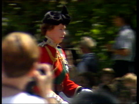 june in 1981 the queen was shot at during trooping the colour london ext queen elizabeth ii trooping the colour on horse 'burmese' - elizabeth ii stock videos & royalty-free footage