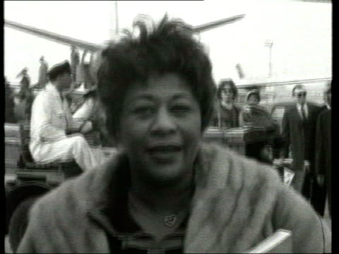 june; in 1996 ella fitzgerald died lib london: ella fitzgerald at london airport lib int ella fitzgerald interview about song that brought her fame -... - ella fitzgerald stock videos & royalty-free footage