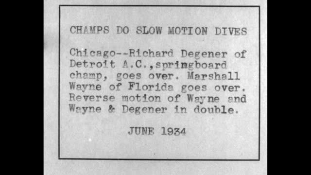 june of 1934 slo-mo richard degener, detroit springboard champion does platform high dive / marshall wayne of florida does back platform high dive /... - diving platform stock videos & royalty-free footage