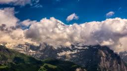 Jungfrau massif Switzerland Alpine landscape summer time lapse