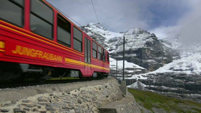 Jungfraubahn railway and Eiger, Kleine Scheidegg, Bernese Alps, Switzerland, Europe