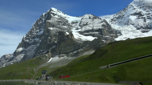 Jungfraubahn Railway at Fallboden, Kleine Scheidegg and Eiger, Grindelwald, Bernese Oberland, Canton of Bern, Switzerland