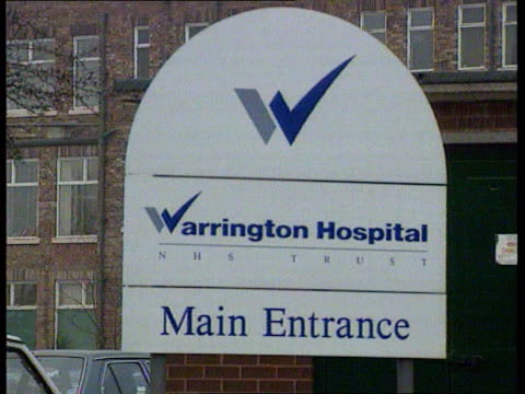 Junior doctor death CF ENGLAND Warrington CS Sign 'Warrington Hospital NHS Trust' PULL OUT to GV
