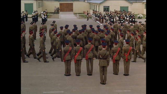 MONTAGE Junior Leaders marching to music while participating in their graduation ceremony / United Kingdom / Armed forces recruiting