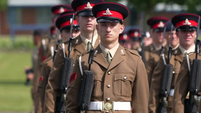 junior soldiers from the army foundation college in harrogate take part in their graduation parade on august 05 in harrogate, england. the graduation... - military uniform stock videos & royalty-free footage