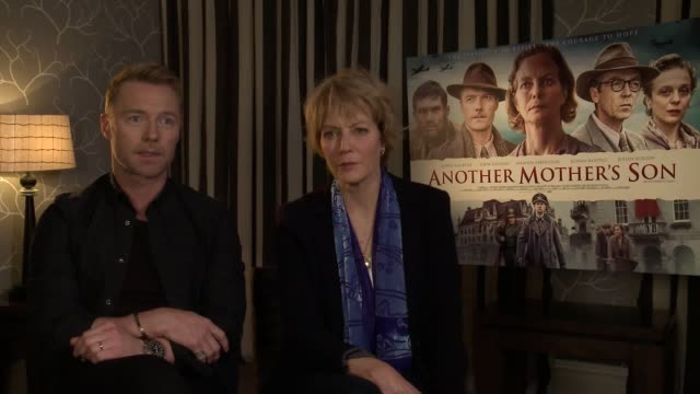 junket interview with ronan keating and jenny seagrove ahead of the release of their new film another mother's son . - ronan keating stock videos & royalty-free footage