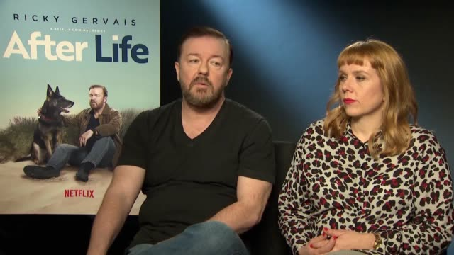 junkets with the show's creator ricky gervais and actors kerry godliman, tony way and mandeep dhillon for the new series after life. the sitcom is... - ricky gervais stock videos & royalty-free footage
