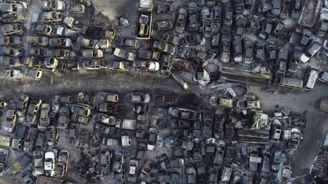 junkyard burnt from nearby forest fire, sokcho, gangwon province, south korea - crushed stock videos & royalty-free footage