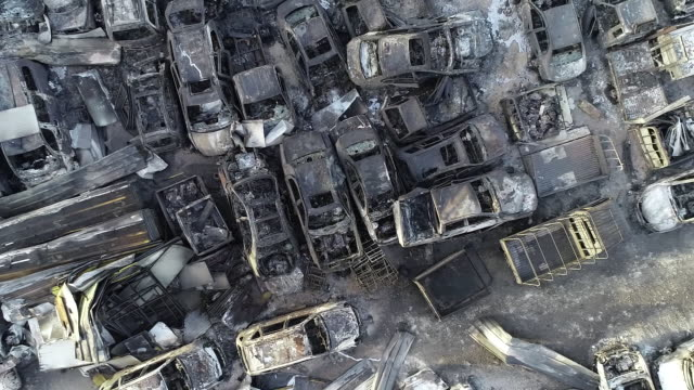 junkyard burnt from nearby forest fire, sokcho, gangwon province, south korea - burnt stock videos & royalty-free footage