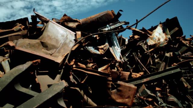 junkyard. pile of metal scraps - mode of transport stock videos & royalty-free footage