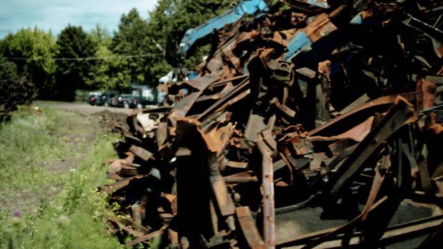junkyard. pile of metal scraps - container stock videos & royalty-free footage