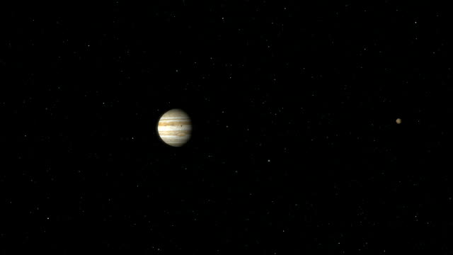 jupiter and its moons - campo gravitazionale video stock e b–roll