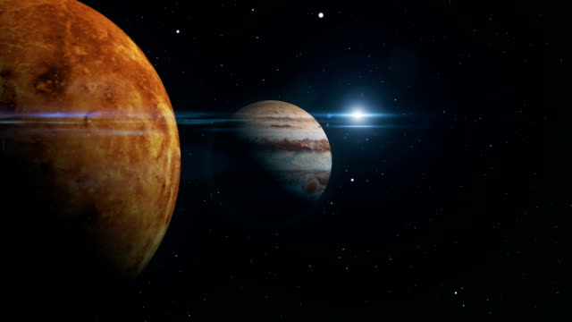 jupiter and venus conjunction 3d illustration - solar system stock videos & royalty-free footage
