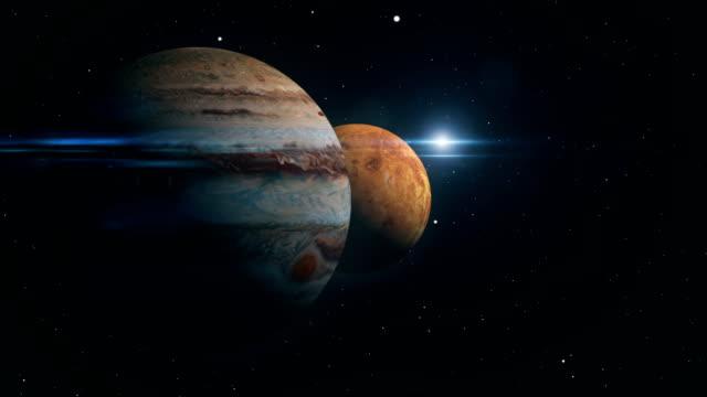 vídeos de stock e filmes b-roll de jupiter and venus conjunction 3d illustration - júpiter