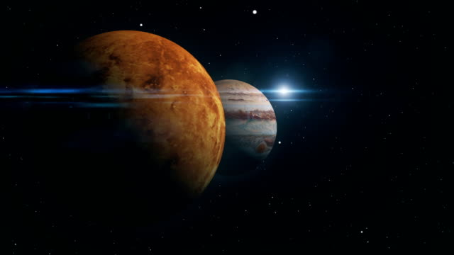 vídeos de stock, filmes e b-roll de júpiter e vênus conjunção ilustração 3d - ordem
