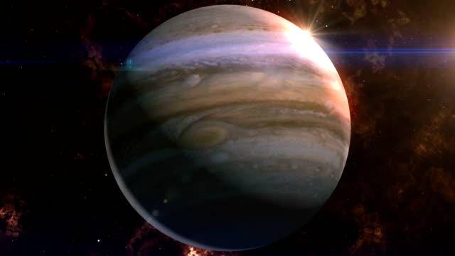 jupiter reveal in space - orbiting stock videos and b-roll footage
