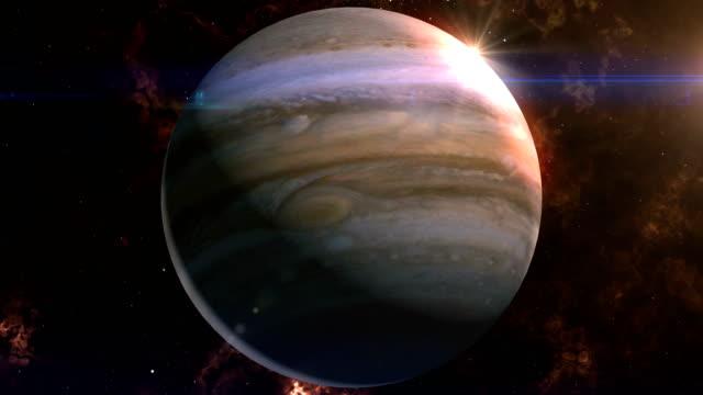 vídeos de stock e filmes b-roll de jupiter reveal in space - júpiter