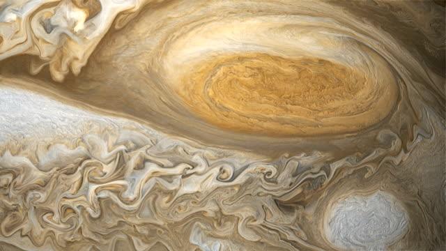 vídeos de stock e filmes b-roll de jupiter's great red spot - júpiter
