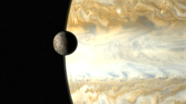 vídeos de stock e filmes b-roll de jupiter's moon ganymede - júpiter