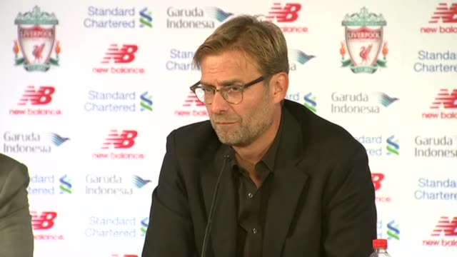 jurgen klopp revealed as new liverpool manager press conference klopp press conference sot german without translation / on his reception at liverpool... - press room stock videos & royalty-free footage
