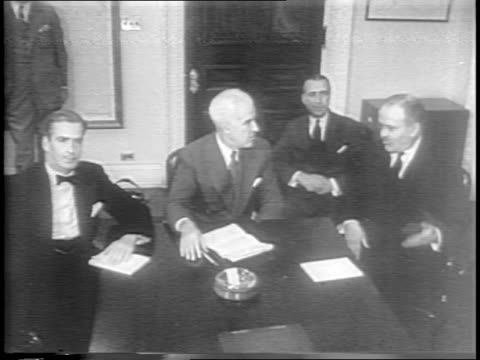 Jurists of the United Nations sign papers shake hands / Philippines president and other leaders arrive at White House / President Harry S Truman...