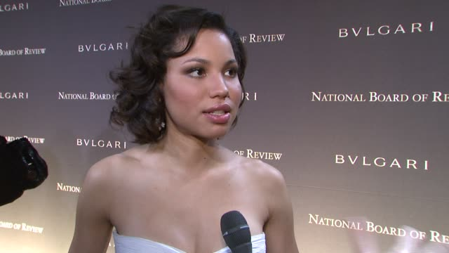 jurnee smollett, wearing valentino and bvlgari, on having 'the great debaters' honored tonight, what it means to have nbr recognize the film, and... - valentino designer label stock videos & royalty-free footage