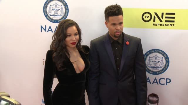 Jurnee SmollettBell and Josiah Bell at 48th NAACP Image Awards at Pasadena Civic Auditorium on February 11 2017 in Pasadena California