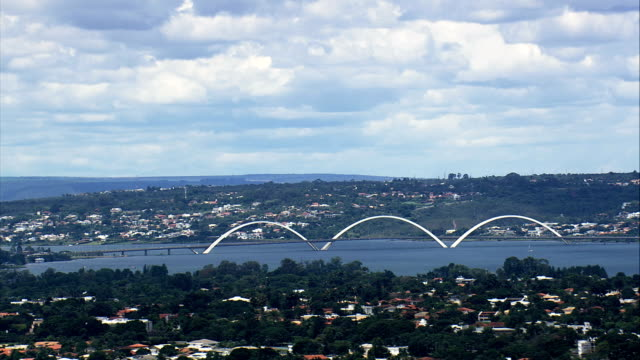 juscelino kubitschek bridge  - aerial view - federal district, brasília, brazil - juscelino kubitschek bridge stock videos & royalty-free footage
