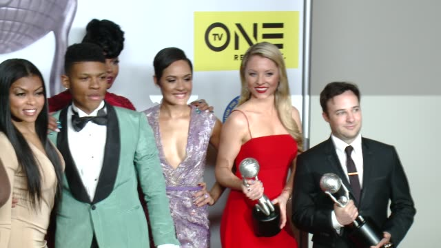 jussie smollett gabourey sidibe trai byers taraji p henson bryshere y gray grace gealey kaitlin doubleday danny strong at 47th naacp image awards in... - taraji p. henson stock videos and b-roll footage