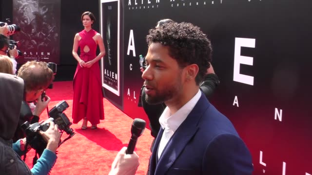 INTERVIEW Jussie Smollett talks about working with Ridley Scott at the Sir Ridley Scott Hand And Footprint Ceremony at TCL Chinese Theatre in...