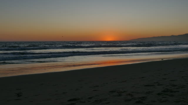 just after sunset pale blue and orange sky, the wet sand reflecting orange and silver, people backlit play in the ocean, a woman walks through the... - silver coloured stock videos & royalty-free footage