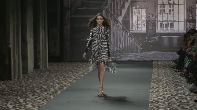 milan fashion week women a/w 2012 on february 24, 2012 in milan, italy - roberto cavalli designer label stock videos & royalty-free footage