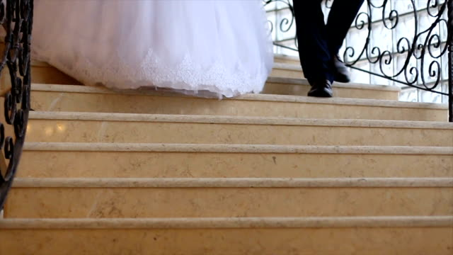 just married couple walking down - moving down stock videos & royalty-free footage