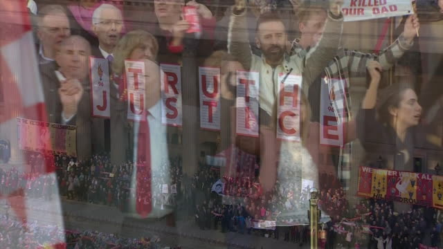 justice for the 96' campaigners and crowds singing 'you'll never walk alone' in unison on the steps of st george's hall after the hillsborough... - justice concept stock videos & royalty-free footage