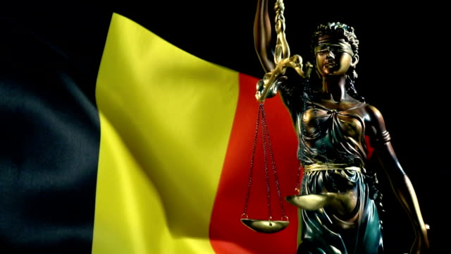 justice statue with belgian flag - justice concept stock videos & royalty-free footage