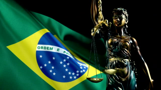 justice statue with brazilian falg - law stock videos & royalty-free footage