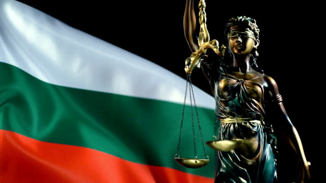 justice statue with bulgarian flag - eastern european culture stock videos & royalty-free footage