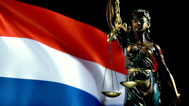 justice statue with dutch flag - justice concept stock videos & royalty-free footage