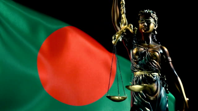 justice statue with flag of bangladesh - flag of bangladesh stock videos & royalty-free footage