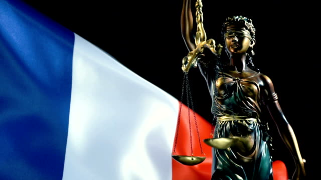 justice statue with france flag - justice concept stock videos & royalty-free footage