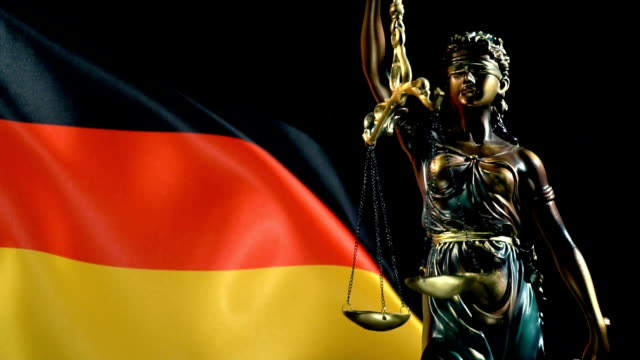 justice statue with german flag - german culture stock videos & royalty-free footage