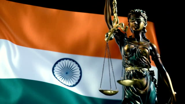 justice statue with indian flag - law stock videos & royalty-free footage