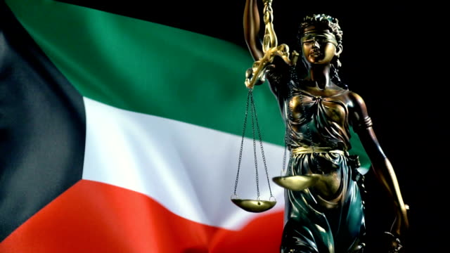 Justice Statue with Kuwaiti Flag