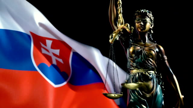 Justice Statue with Slovakian Flag