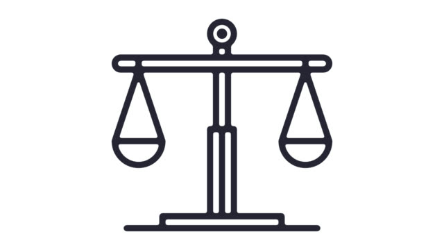 justice system line icon animation with alpha - law stock videos & royalty-free footage